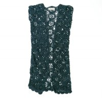 The Stevie Crochet Duster Vest - Navy