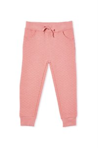 Quilted Hood Track Pants - Blush