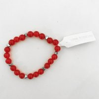 Red Beads w Silver Hearts