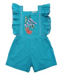 Tulip Playsuit - Lapis with Embroidery