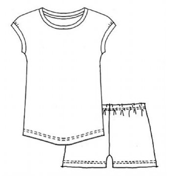 Floral Stamp Upcycled Tee/Shorts Set Girls