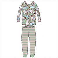 Long Sleeve Raglan Pyjama Set - Easter Bling - Green/Multicoloured
