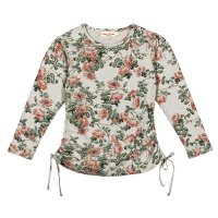 Long Sleeve Drawstring T-Shirt - Wild Roses