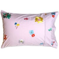 * PRE-ORDER * Big Floral Embroidered Cotton Pillowcase - Single