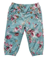 Baby Girls Harem Pants - Teal Floral