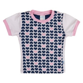 Soft Navy Hearts- Girls Rash Top S/Sleeve