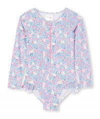 Neon Floral L/S Swimsuit (Up To Size 12!)